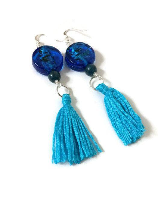 Blue Tassel Earrings with Speckled Glass Beads by JulemiJewelry