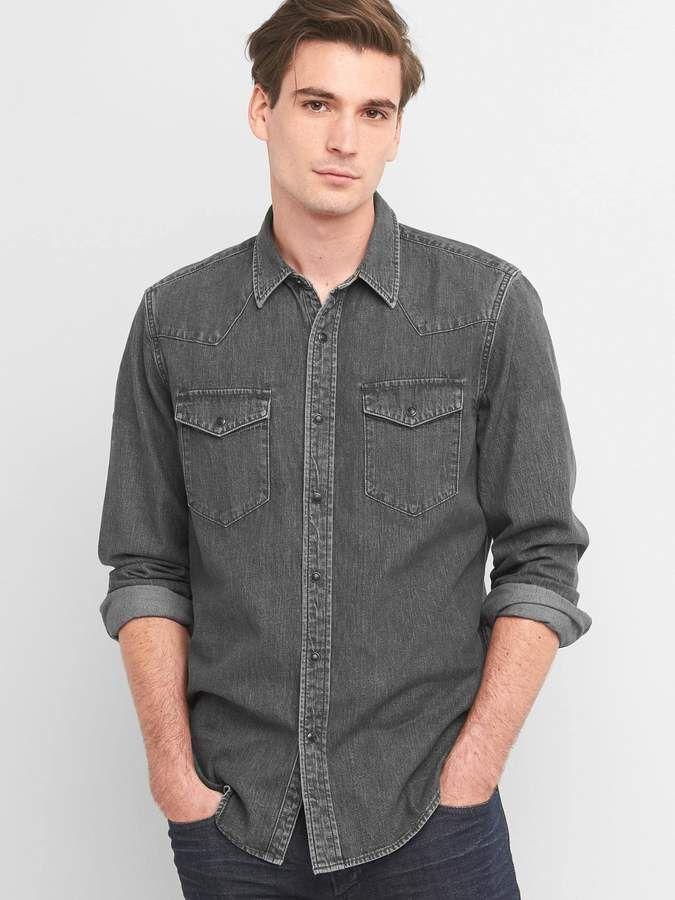 38000876b6 Gap Lightweight denim slim fit western shirt