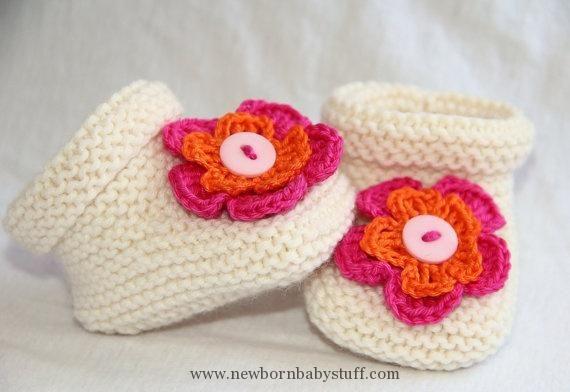 bfdab56e504b Crochet Baby Booties White Hand Knitted Newborn Baby Girl Clothing ...
