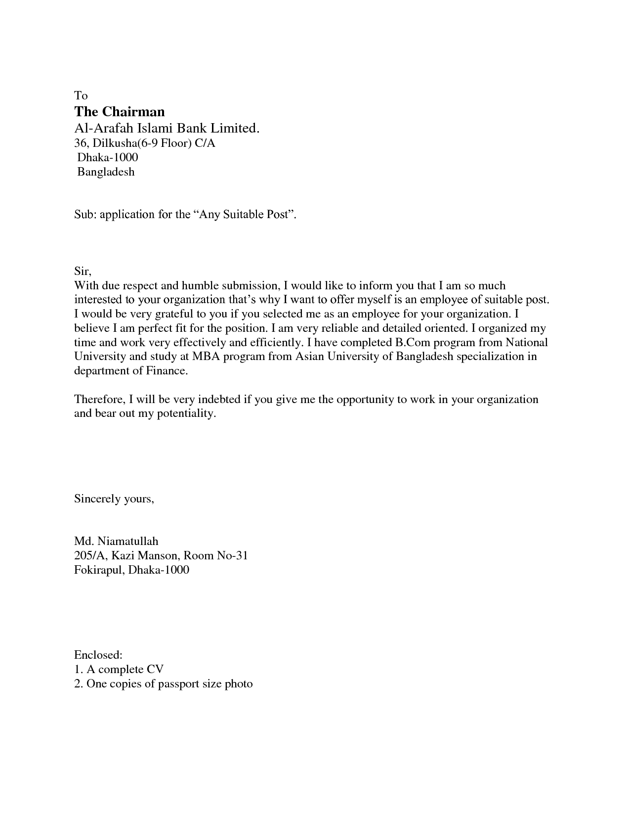 Covering Letter Job Application The Covering Letter Should
