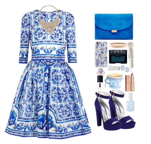 """Blue like the ocean"" by emmeleialouca on Polyvore featuring Dolce&Gabbana, Prada, Monica Vinader, Mansur Gavriel, Bebe, Casetify, Chanel, NARS Cosmetics, Cara and Essie"