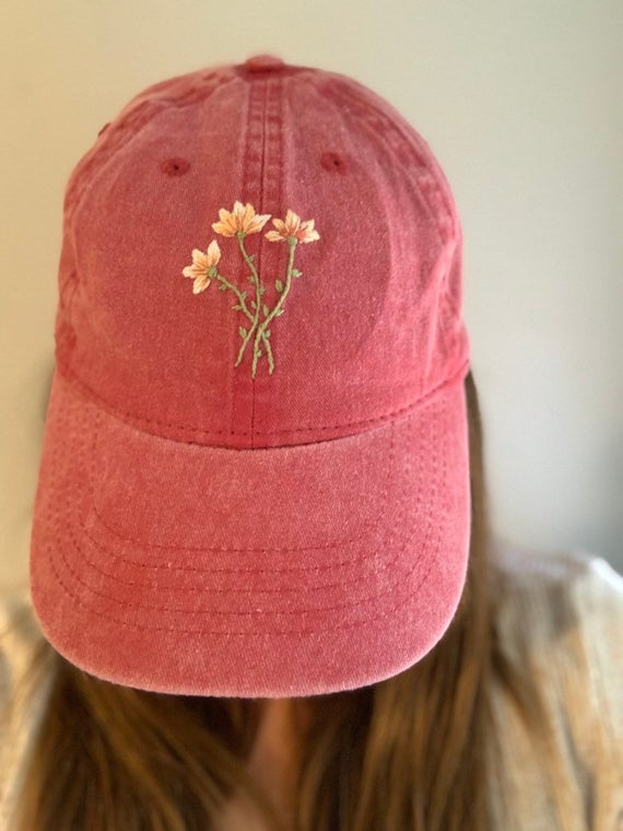 Pin By Katie Jenkins On Sewing Ideas Hand Embroidered Hat Embroidered Hats Hat Embroidery