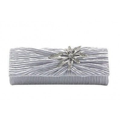 Dazzling Elegant Flower Rhinestone Handbag, Wedding Party Clutch Purse Chain Bag-Silver