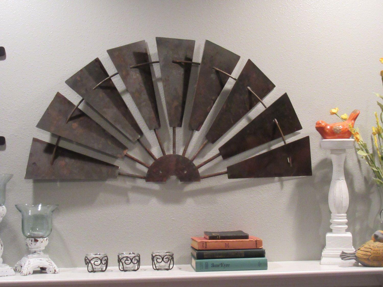 36 Rusty Half Windmill Wall Decor Ready To Ship Vintage Inspired