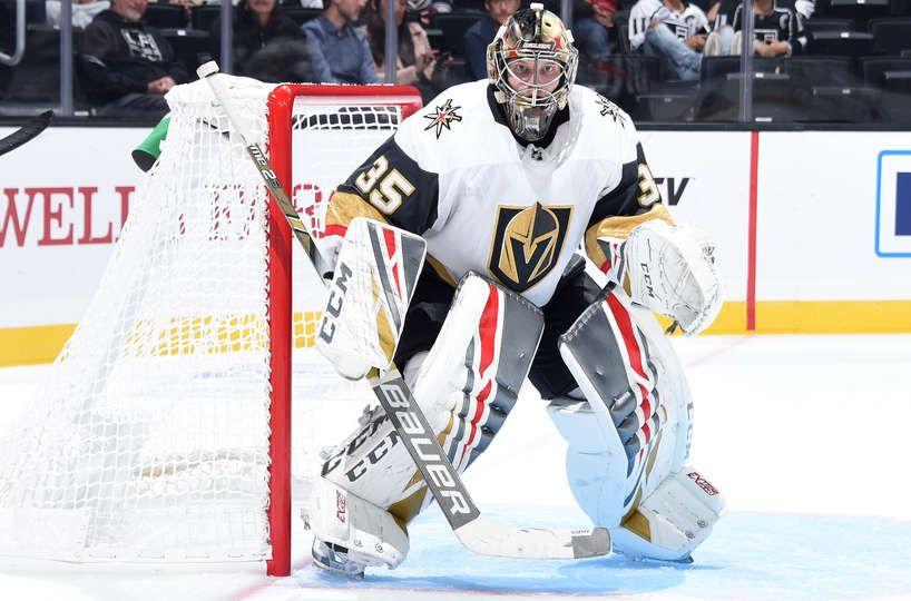 Los Angeles Ca September 20 Goaltender Oscar Dansk 35 Of The Vegas Golden Knights Tends Net During T Los Angeles Kings Golden Knights Vegas Golden Knights