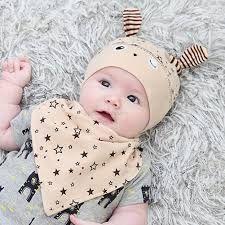 1a60f711f277 Cute Baby Boy Girl Hat Cap+Saliva Towel Triangle Head Scarf Set ...