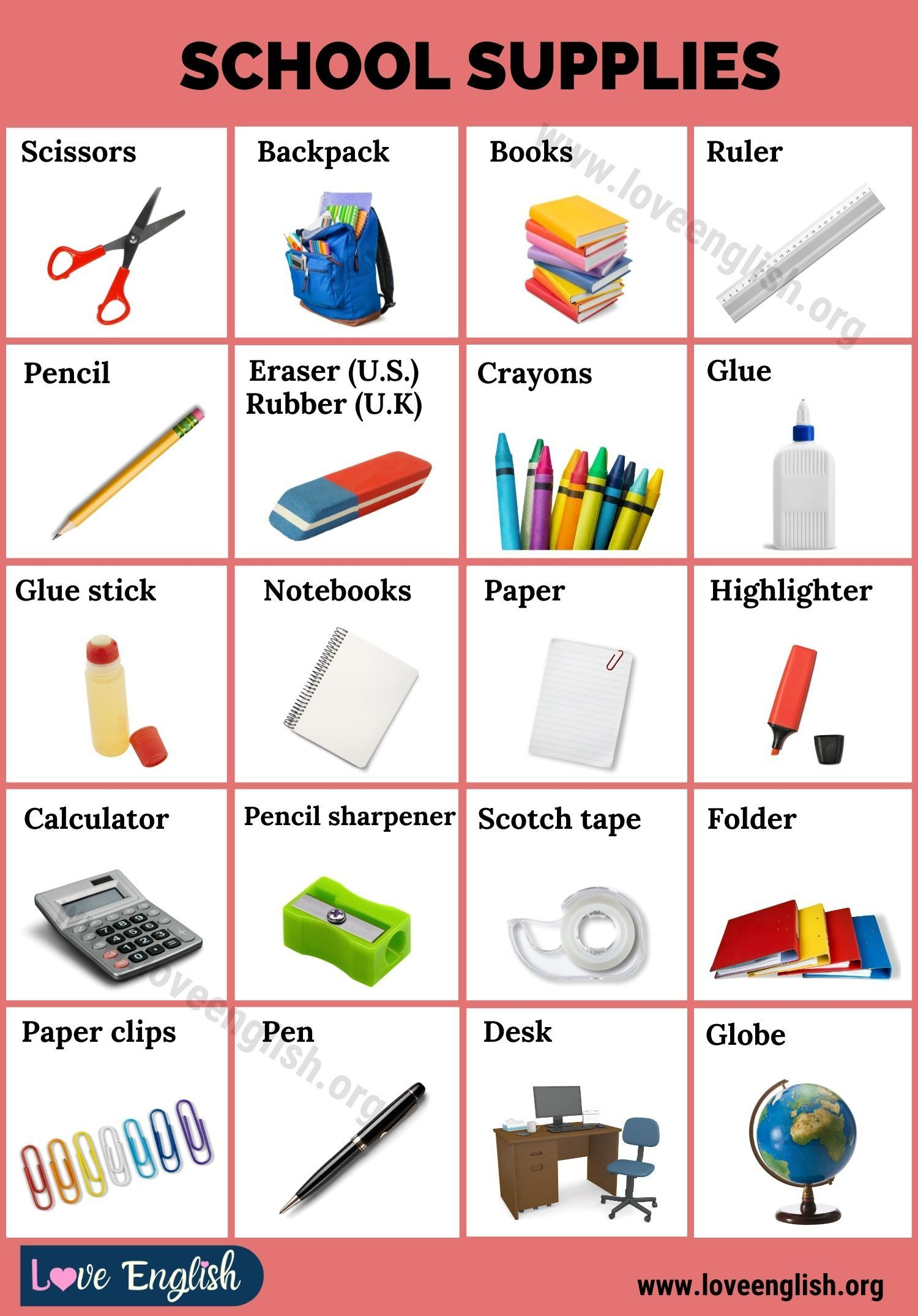 School Supplies 50 Essential School Things For Students Love English Learning English For Kids English Vocabulary School Supplies
