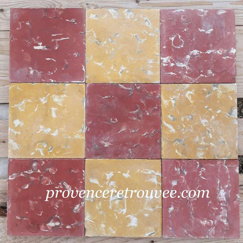Carrelage Ancien Xixe Siecle De Couleur Jaune Et Rouge Effet Marbre Carreaux De Ciment Anciens Carreau De Ciment Carrelage Jaune