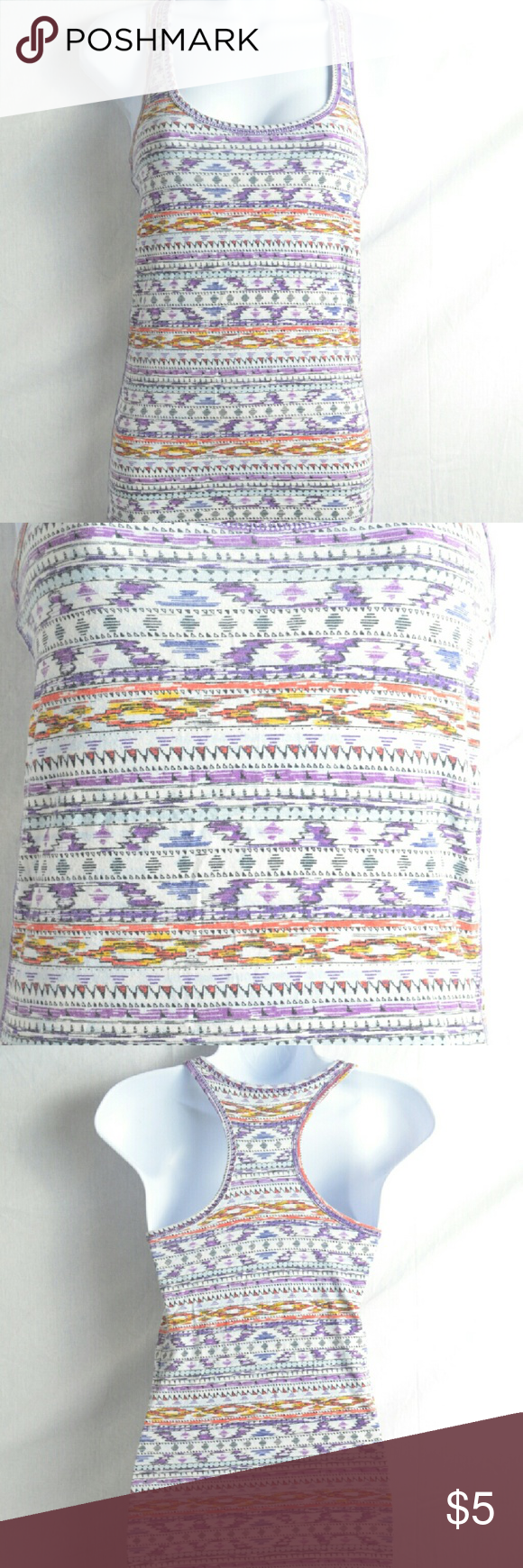 Aztec Design Tank Top By Active Basic This is a very nice tank top from Active Basic that has multiple colors of Aztec designs all over it.  This features a racerback design and is very comfortable to wear.  There are no flaws in this top and is size large.  #activebasic #aztec #aztecdesigns #tanktop #large #sizelarge #racerback Active Basic Tops Tank Tops