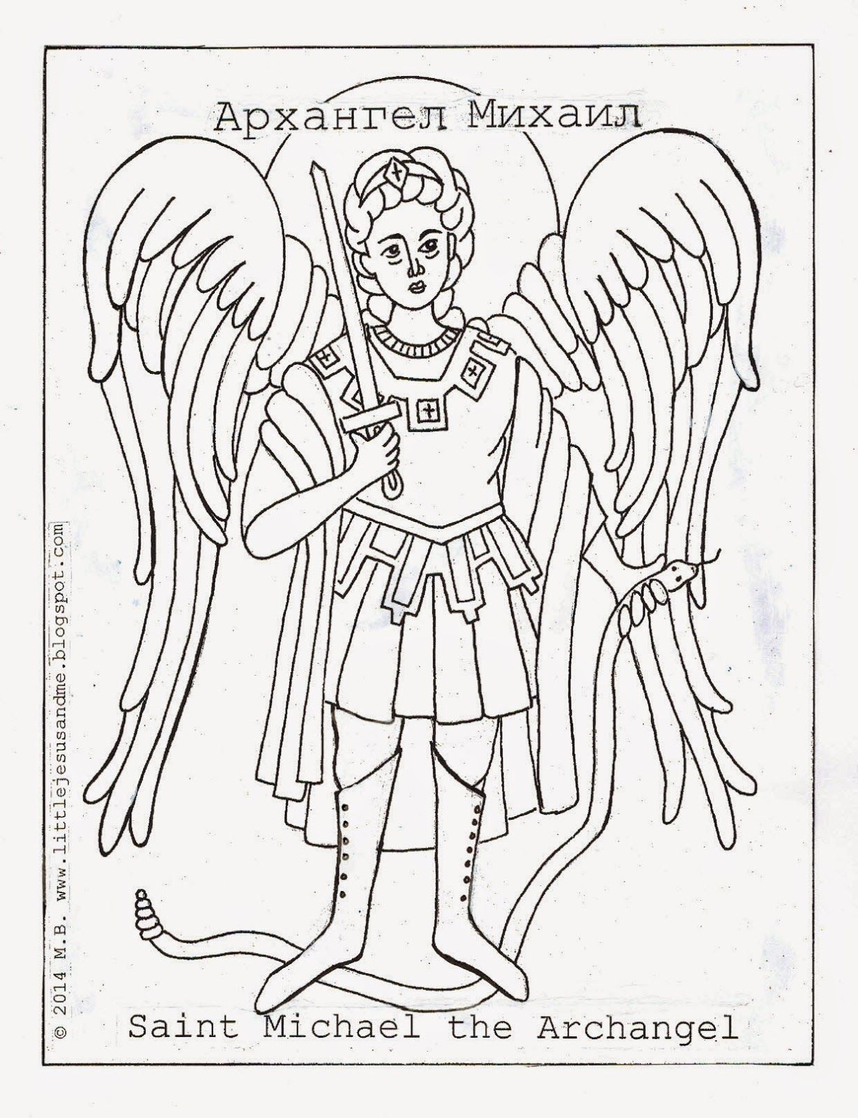 Little Jesus and Me: Angel Coloring Pages: Saint Michael the ...