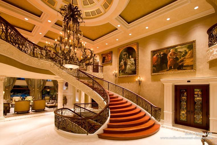 The Grand Hall Of This Grand South Florida Mansion Features A Brazilian Cherry Jatoba Hardwood Banister Artwork F With Images Florida Interior Design House Luxury Homes