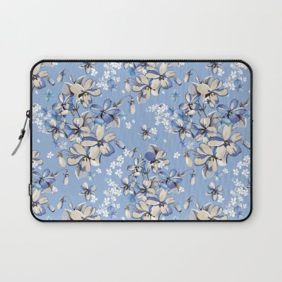 #blue #flowers #floral #woman #girly #pretty #shabby #spring #laptopsleeve available in different #homedecor products. Check more at society6.com/julianarw