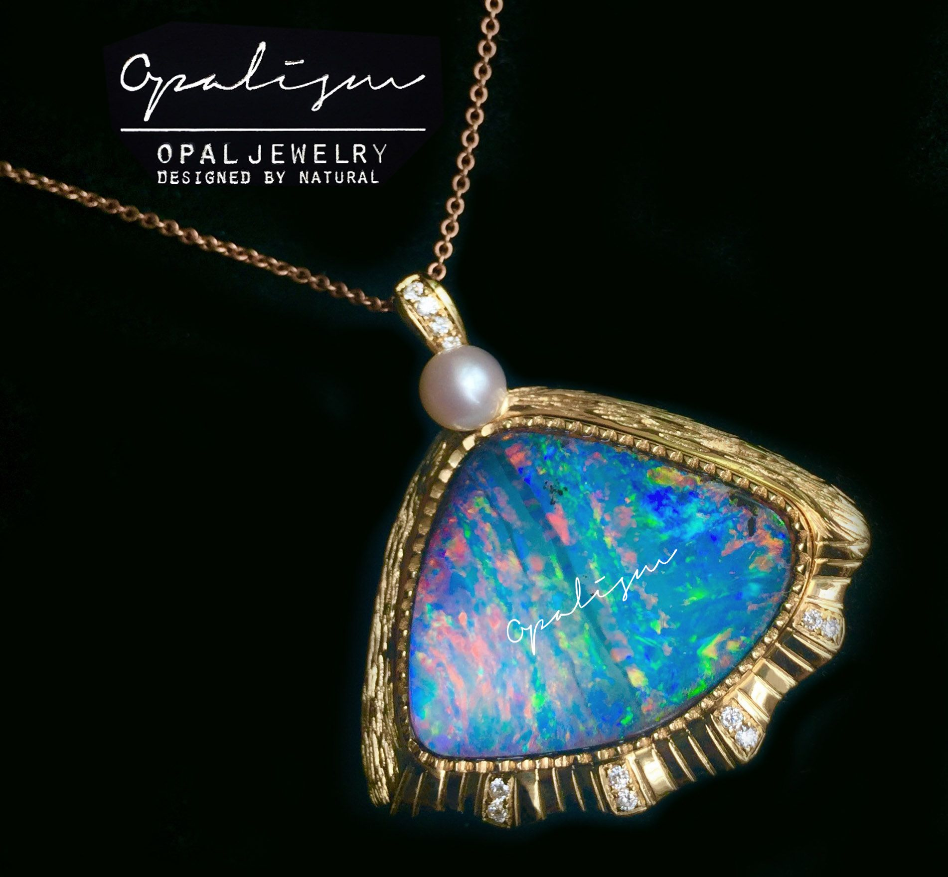 a with australian product chain necklace pendant boulder opal geoclassics