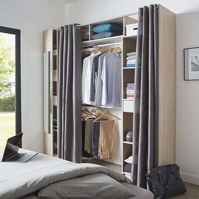 dressing tout en un extensible avec miroir rideaux castorama ouarda pinterest rideaux. Black Bedroom Furniture Sets. Home Design Ideas