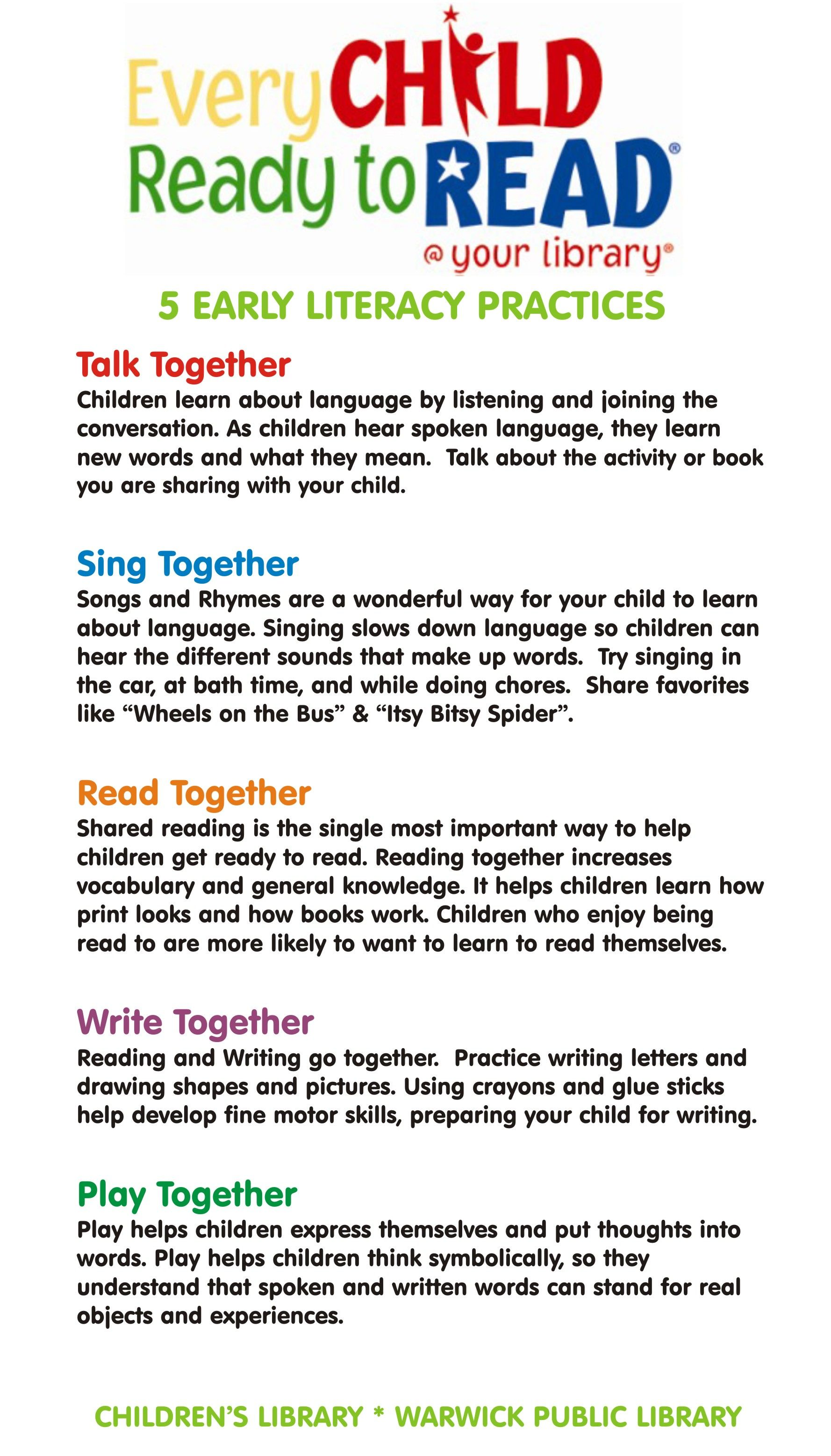 The 5 Early Literacy Practices Storytimes And Play Spaces