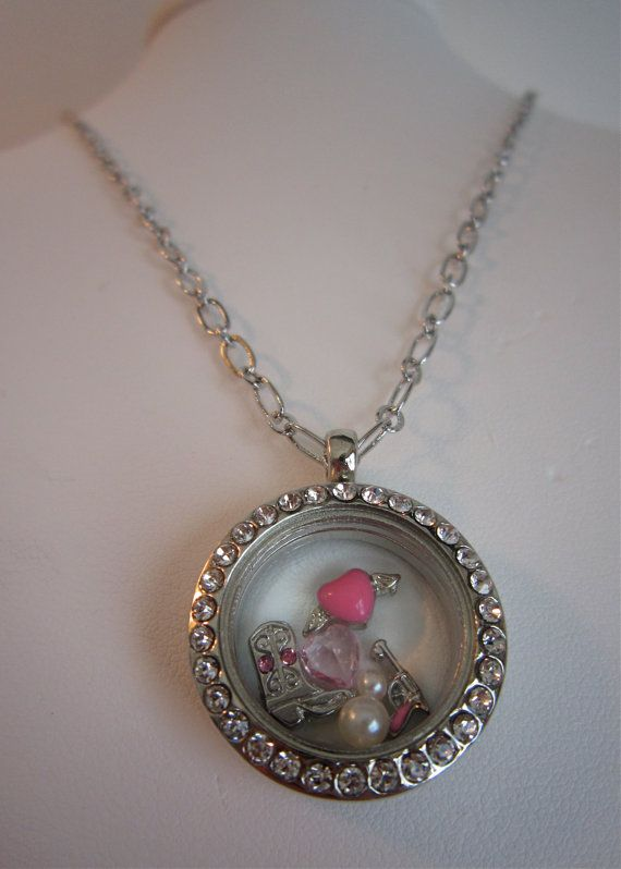 Silver Necklace Glass Memory Locket W Pink Charms Cowgirl Boot