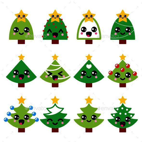 Cute Kawaii Christmas Green Tree With Star Icons Kawaii Christmas Easy Christmas Drawings Xmas Drawing