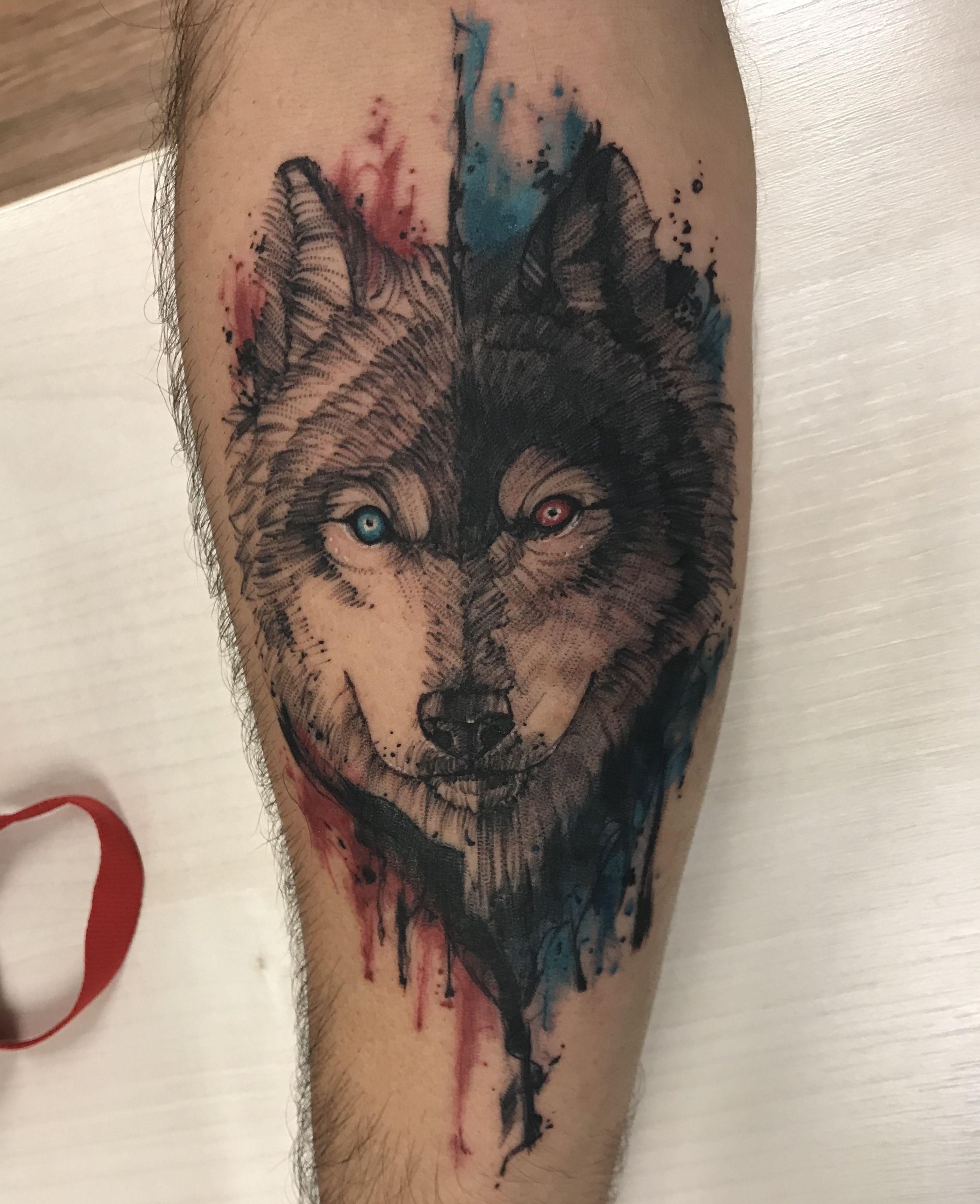 Tatuagem aquarela Tattoo Lobo Wolf