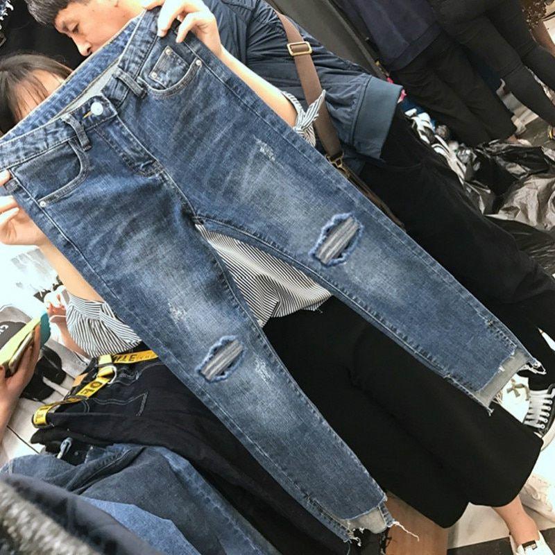 Cheap Pantalones Vaqueros Buy Directly From China Suppliers Venta Al Por Mayor Barata 2019 Nuevo Jeans Delgados Rasgados Moda Para Mujer Moda De Otono Casual