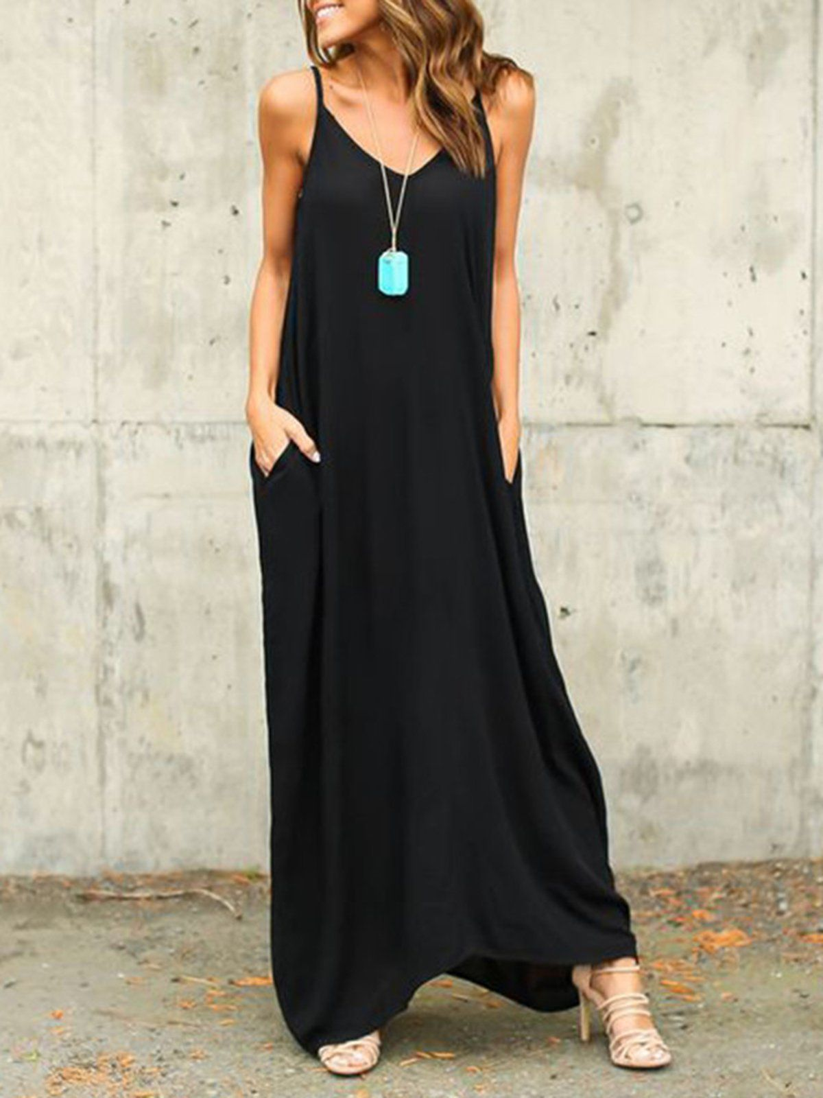 66d5b1f21f9 Daytime Solid Spaghetti Casual Shift Maxi Dress – Miss Arty