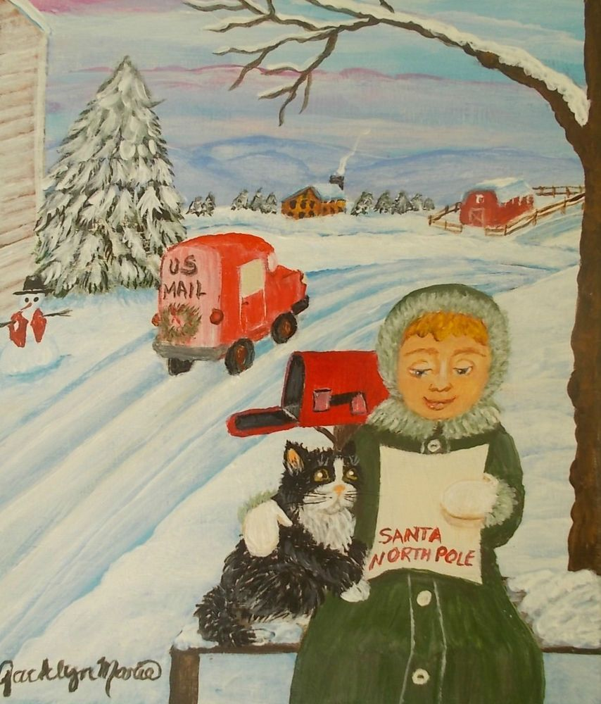 LETTER FROM SANTA CLAUS+CHRISTMAS Original Painting+WOOD
