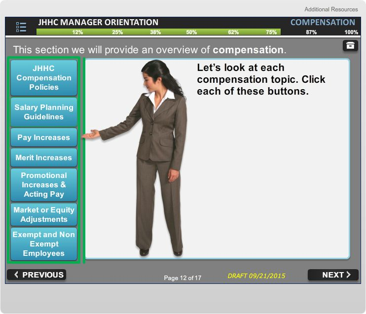 Screen from Manager Orientation course Management