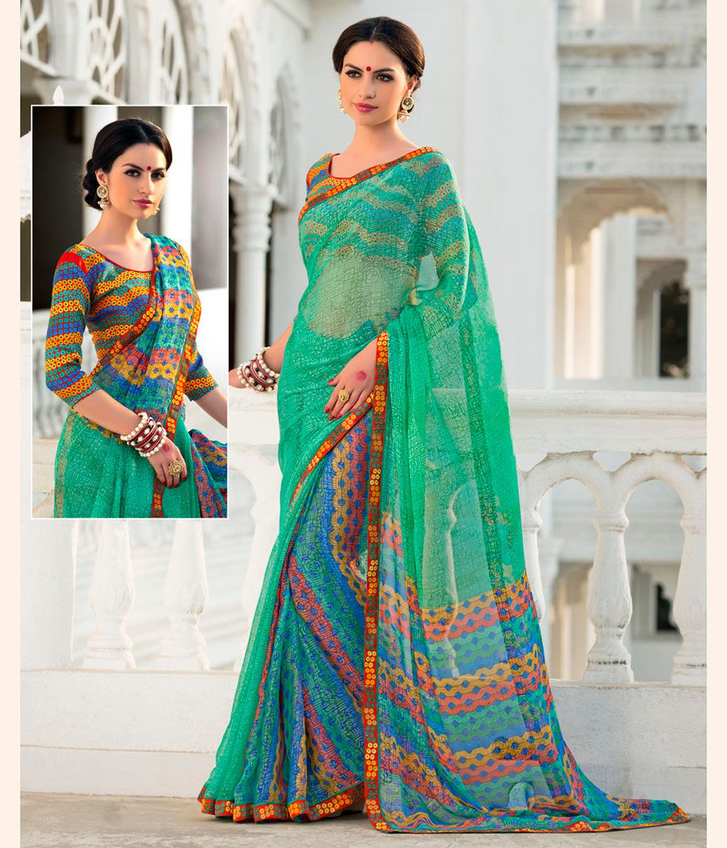 Green Georgette Printed Saree With Blouse 68441