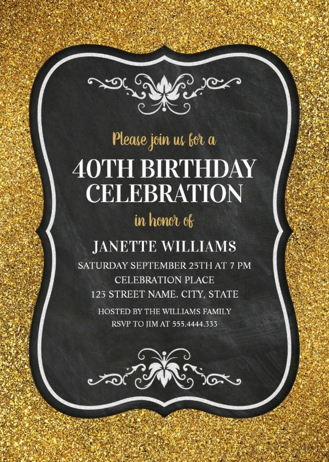Glitter Adult 40th Birthday Party Invitations
