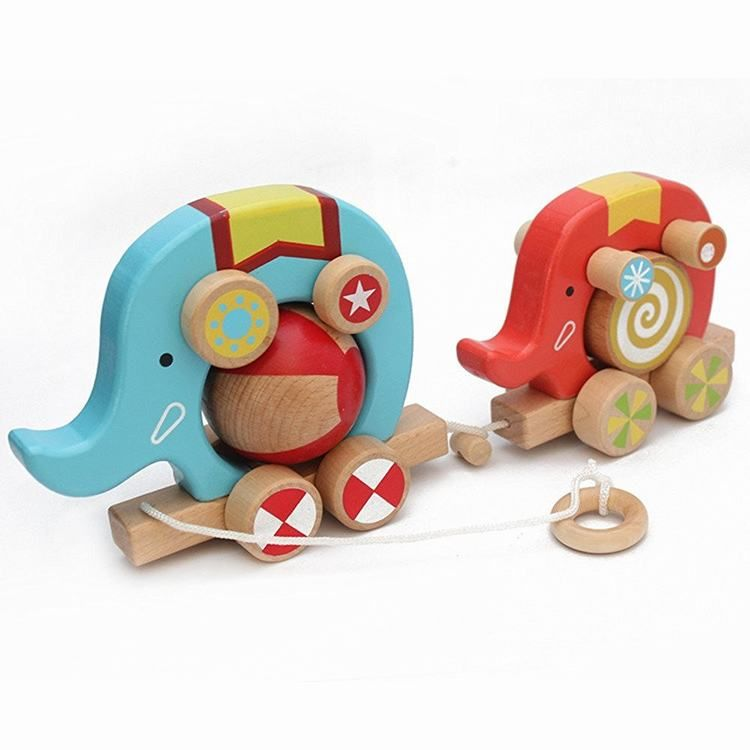 Colorful Wooden Toys Cartoon Two Elephant Drag Wood ...