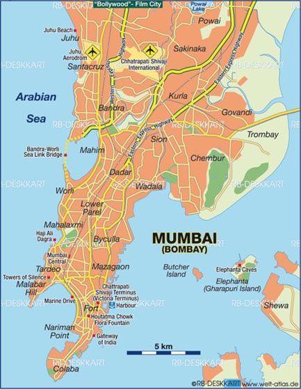 Map of mumbai note island of elephanta india maharastra map of mumbai bombay india map in the atlas of the world world atlas gumiabroncs Image collections