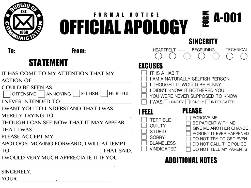 Official apology (form A-001) Funny stuff Pinterest Humor - formal apology letters