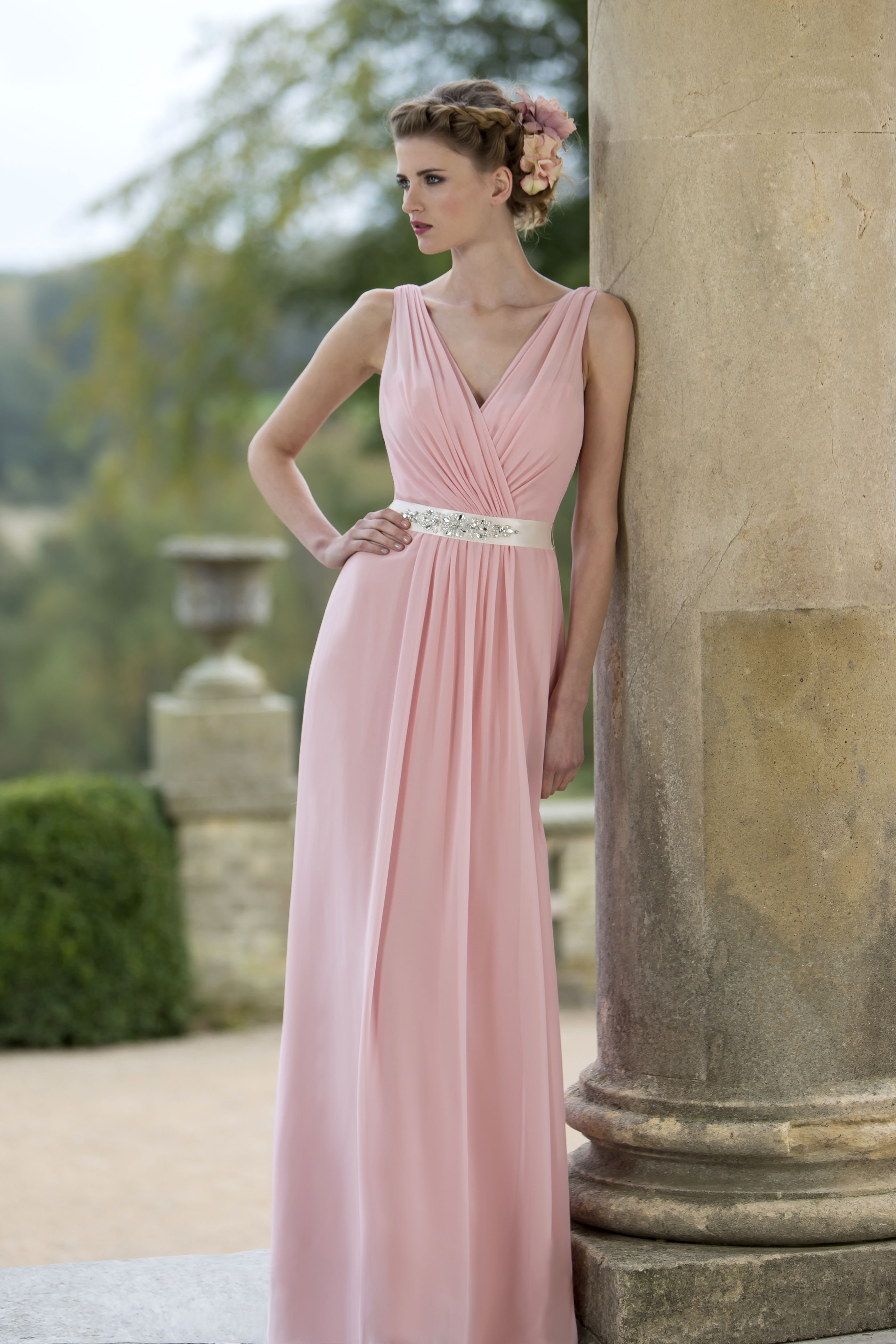 M628 - Slim Chiffon bridesmaid dress with pleated shoulder straps ...
