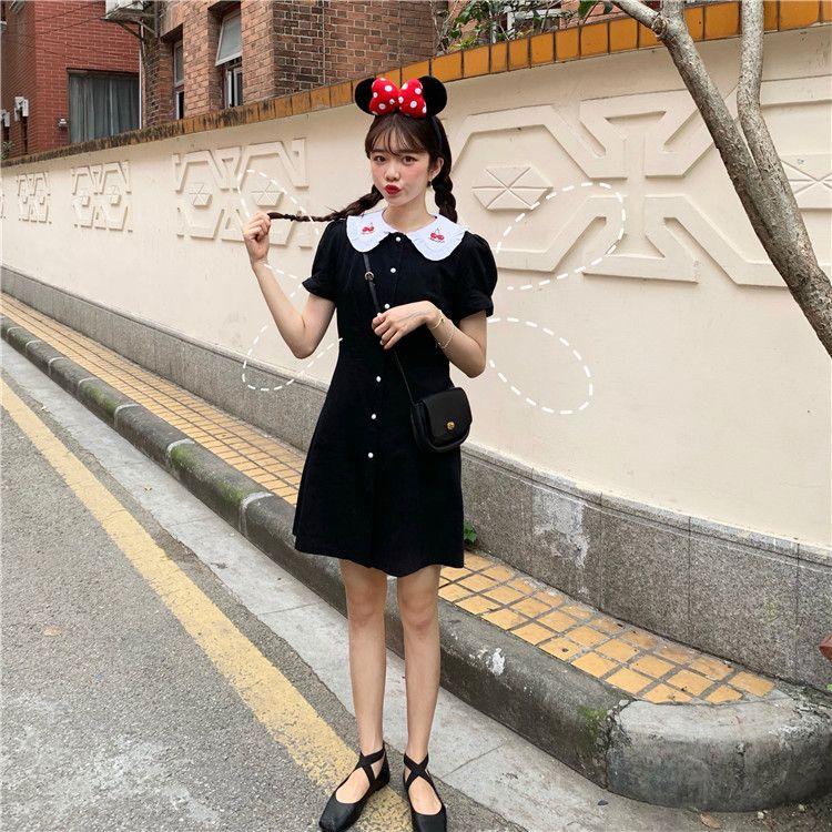 韓国風フリル襟がワンポイントになる無地ワンピース膝上丈 fashion style vintage