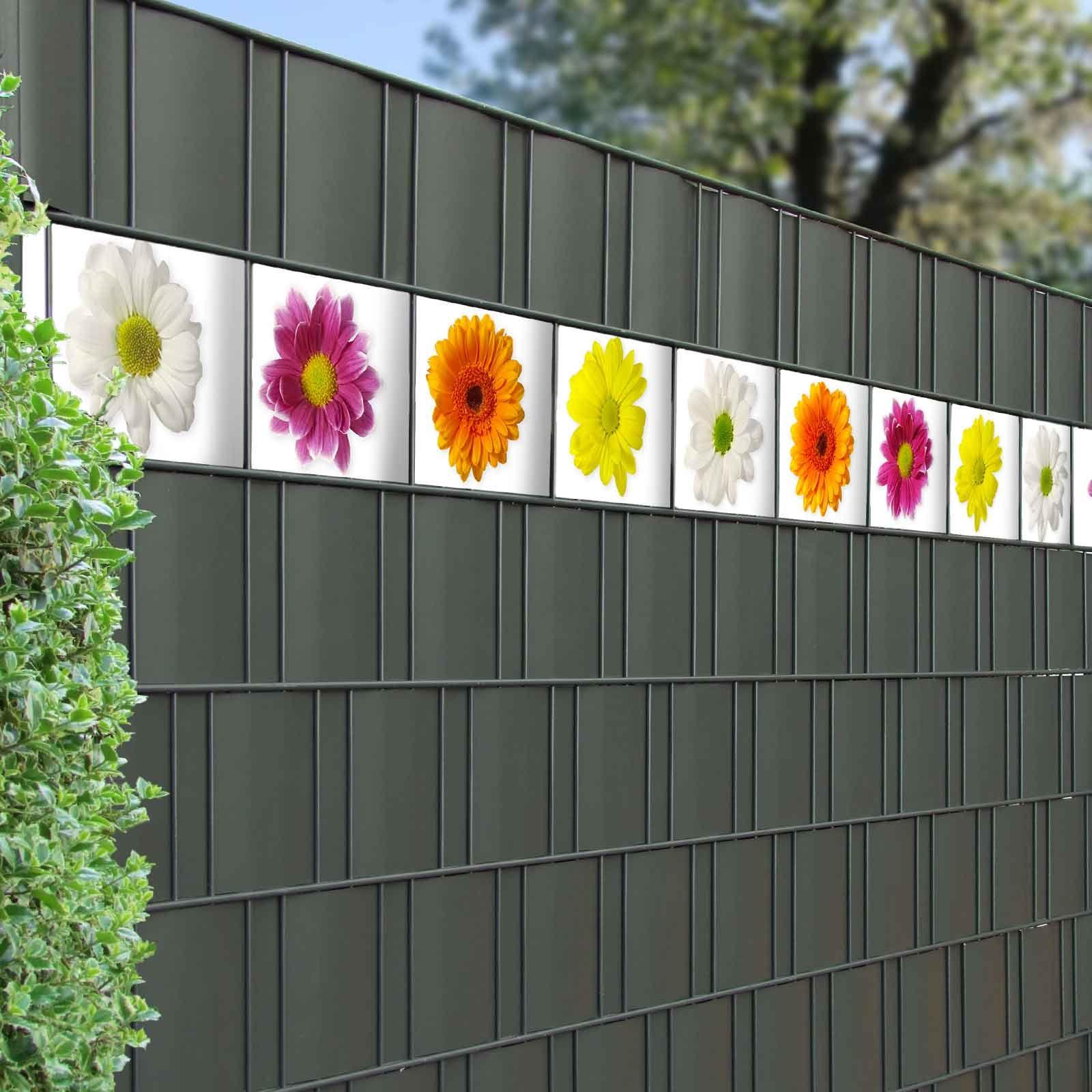Pvc Sichtschutz Streifen Mit Bluten Motiv Sichtschutzzaun Bunte Blumen Kinder Garten