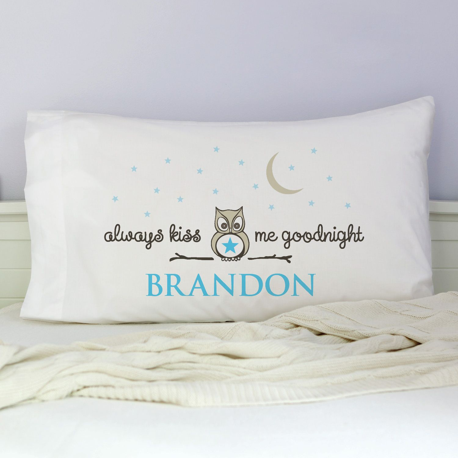 Personalized Bedroom Decor Always Kiss Me Goodnight Personalized Pillowcase Boy Room