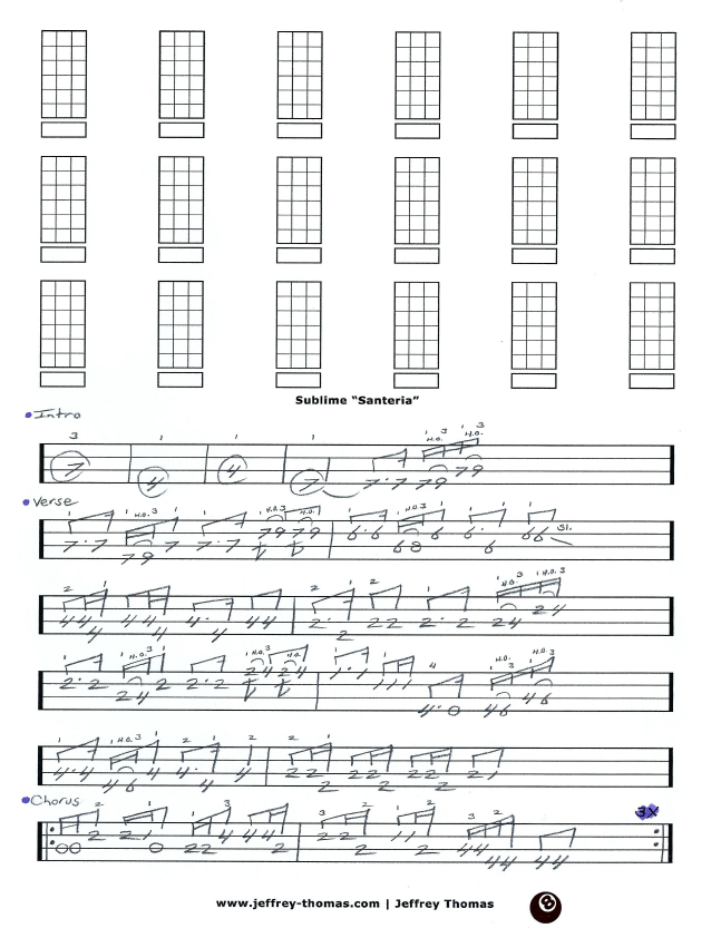 Santeria Guitar Chords