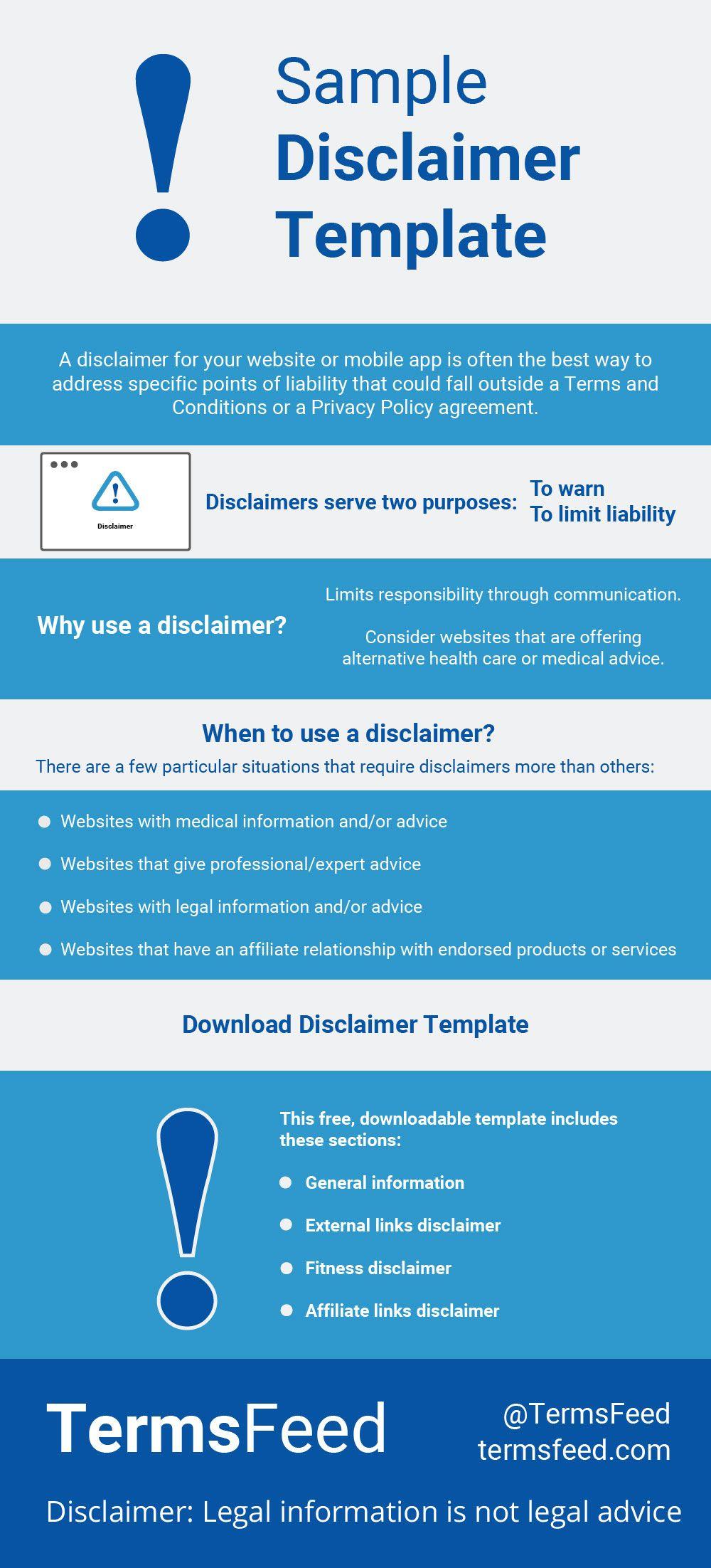 Sample Disclaimer Template Termsfeed Templates App Website