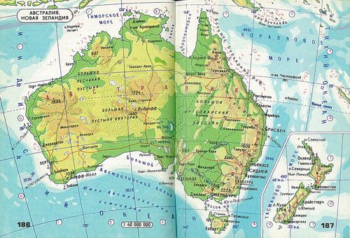 Australia and new zealand maps and landscapes pinterest map map of australia and nz in cyrillic from soviet mini atlas sciox Gallery