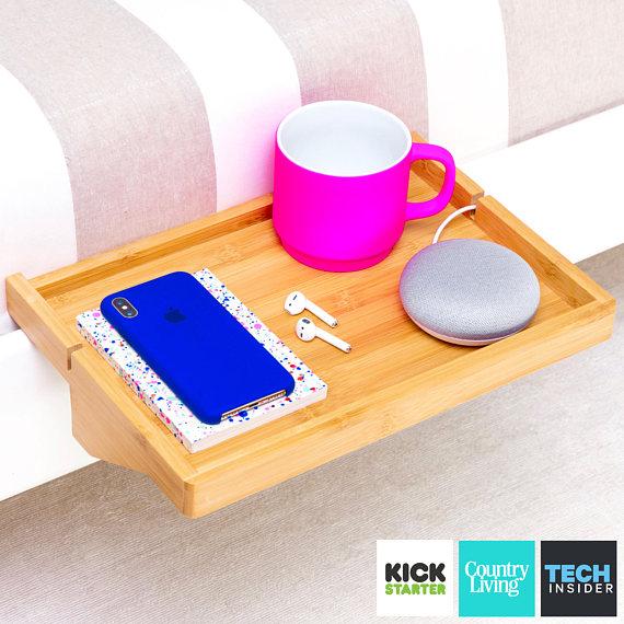 BedShelfie - Bedside Shelf / Floating Nightstand / Small Bedside Table / for Small Bedrooms, Loft Beds, Bunk Beds, Dorms (Natural Bamboo) #dormroomideasforguys