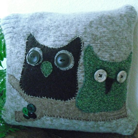 Recycled Upcycled Wool Owls on Branch Pillow by ItsAbout316, $25.00