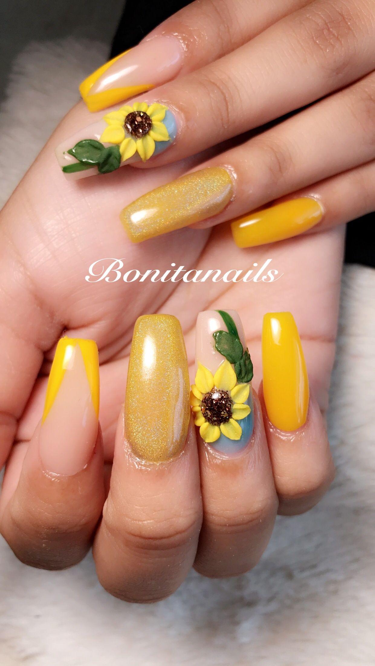 Yellow Amarillo Sun Flowers Girasoles Coffin Nails 2018 Nails En
