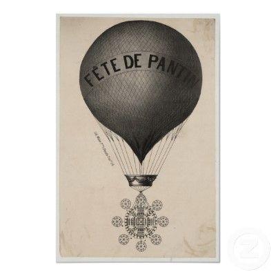 VINTAGE LE BALLON HOT AIR BALLOON FRENCH ADVERTISING A4 POSTER PRINT