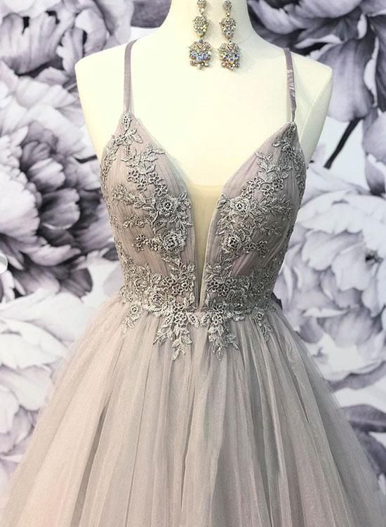 Stylish V Neck Graduation Dress Tulle Evening Dress Lace Long Prom Dress G2968