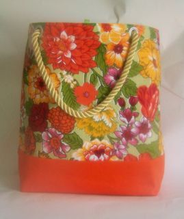 Canvas Floral Beach Bag by HatsEtc on Etsy