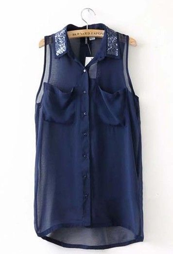 Women Summer Euro Style Asymmetrical Sequins Sleeveless Navy Chiffon Blouse S/M/L@WH0011n