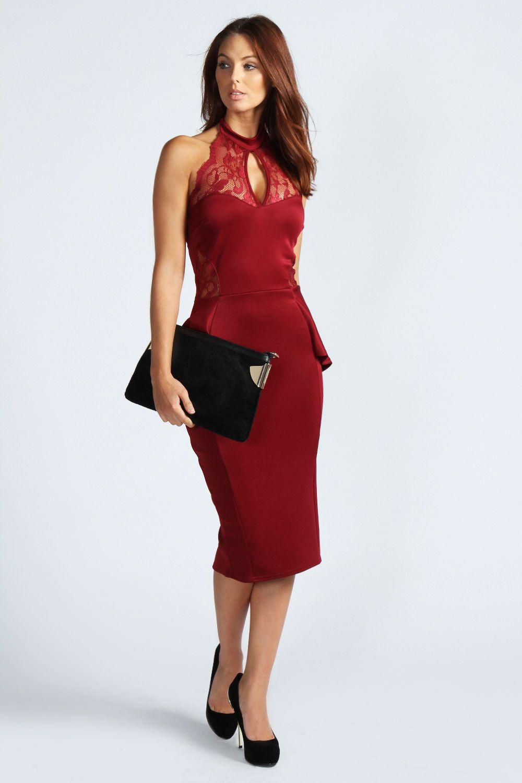 82c81f0166b Amber Red Lace Peplum Midi Dress  date  dinner  drinks  stunning  red  dress   lace  peplum  Fall