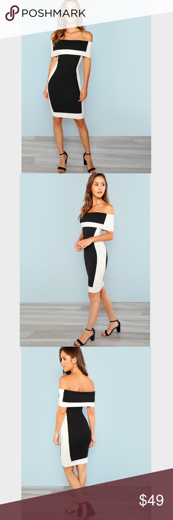 Color Block Off Shoulder Bodycon Contour Dress Party Outfit College Dress Party Night Wedding Guest Dress Summer [ 1740 x 580 Pixel ]