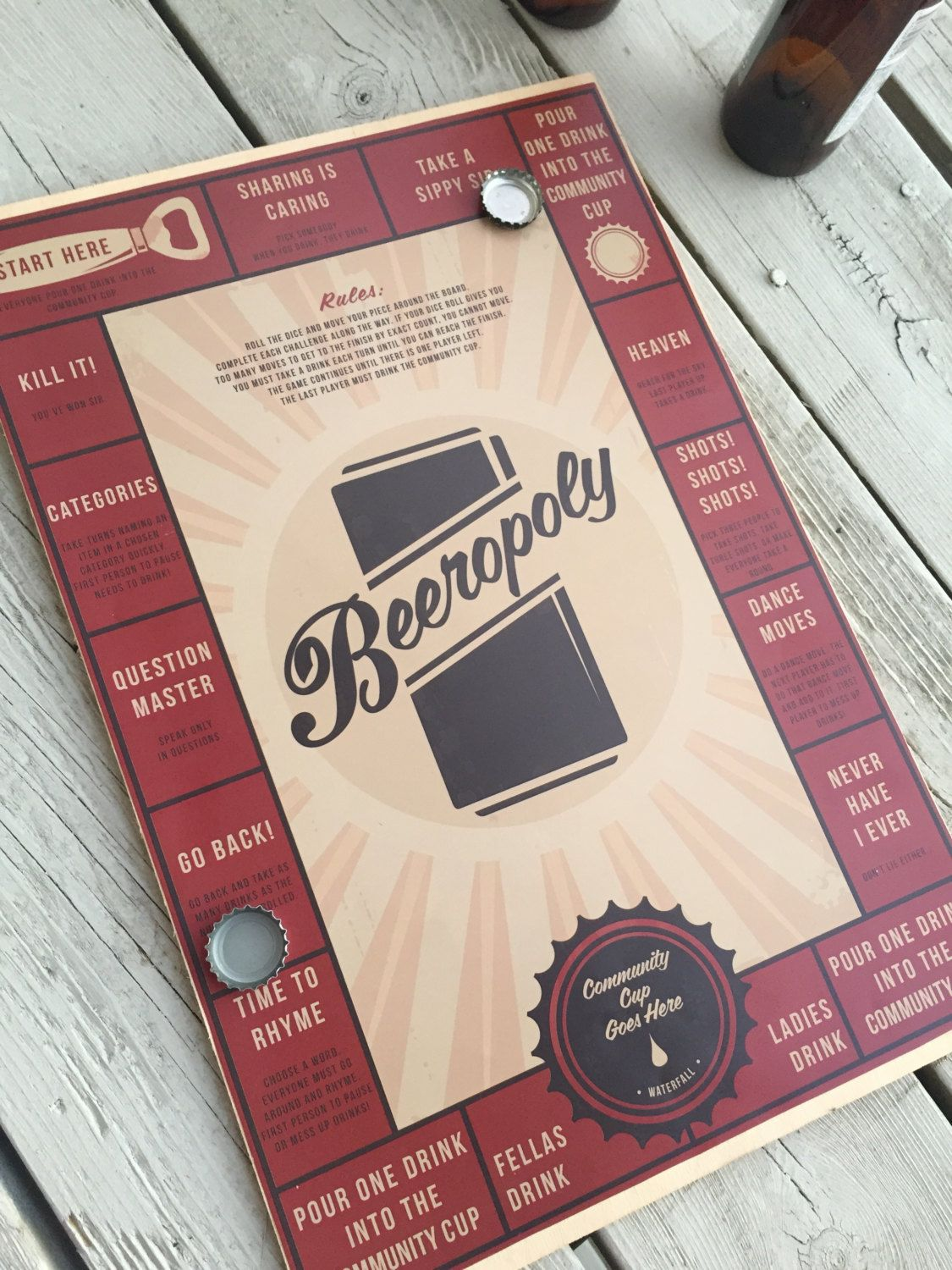 Beeropoly drinking game by helloaadesign on etsy