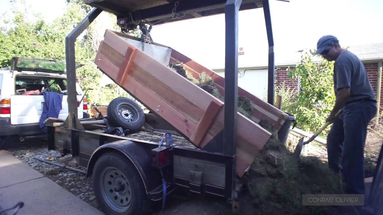 diy dump trailer using a hand winch and a pulley system