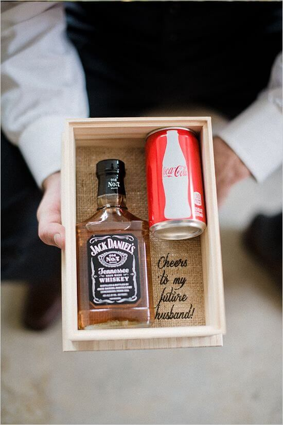 A Great Gift Idea For The Groom Morning Of Wedding Box With His Favourite Tipple And Little See You At Altar Note Simple